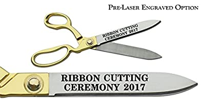 """Pre-Laser Engraved """"RIBBON CUTTING CEREMONY 2017"""" 10 1/2"""" Gold Plated Handles Ceremonial Ribbon Cutting Scissors"""