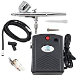 HJLWST OPHIR Airbrush Kit with Black Mini Air Compressor Air Filter for Temporary Tattoo Body Nail Paint