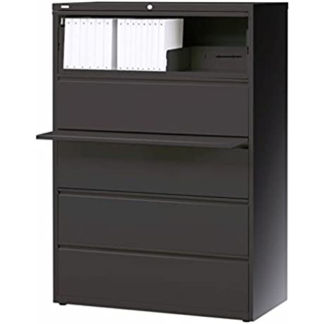 Hirsh Industries LLC 10000 Series Lateral 36 Wide 5 Drawer File Cabinet In Charcoal