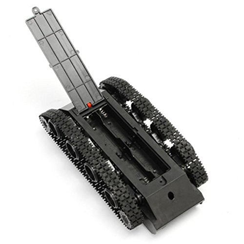 Tank Robot Chassis, Light Shock Absorber Tank Chassis Rubber Track Crawler for Arduino 130 Motor (Black)