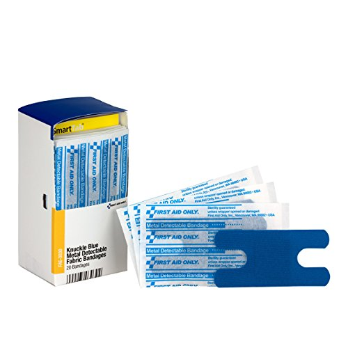 Pac-Kit by First Aid Only FAE-3030 SmartCompliance Refill Blue Metal Detectable Knuckle Bandages, 20 Count ()