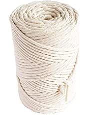 MB Cordas Natural Macrame Cord 3mm Cotton Cord 140m Single Strand Twisted Cotton Sting for DIY Projects 459 feet Weaving Macrame Rope