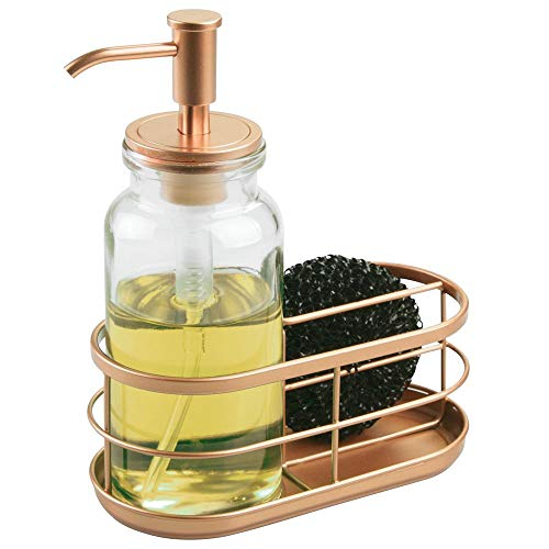 mDesign Modern Glass/Metal Kitchen Sink Countertop Liquid Hand Soap Dispenser Pump Bottle Caddy with Storage Compartments - Holds and Stores Sponges, Scrubbers and Brushes - Clear/Copper (Rest Spoon Copper)