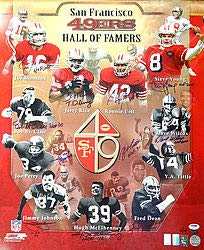 (SF 49ers Hall of Famers (11 Signatures) Signed 20x24 Photo Joe Montana Jerry Rice Steve Young Lott and Tittle HOF #14/49 - PSA/DNA Authentication - Autographed NFL Football Photos)