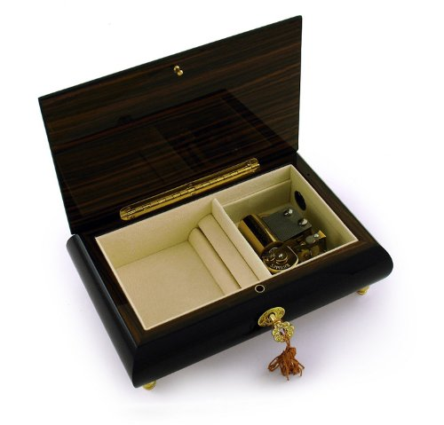 Enchanting Black Lacquer Single Red Rose with Gold Hardware Music Jewelry Box - So This Is Love (Cinderella) by MusicBoxAttic (Image #2)