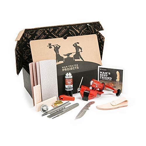 Man Crates Knife Making Kit - Awesome DIY Gift For Men - Includes Stainless-Steel Shawnee Skinner Blade, Maple Burl Handle, Brass Bolsters, Leather Sheath And Step-by-Step Knife Making Guide