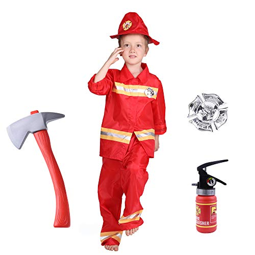 Familus Firefighters Costume for Kids, Toys for Fireman Party Fire Chief Role Play Red