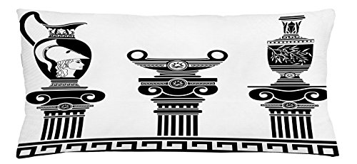 Ambesonne Toga Party Throw Pillow Cushion Cover, Hellenic Vases and Ionic Columns Artistic Design Amphora Antiquity Culture, Decorative Square Accent Pillow Case, 36 X 16 Inches, Black and (Ionic Cushion)