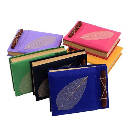 (NOVICA 135189 Happy Leaf' (Set of 6) Natural Fiber notebooks)