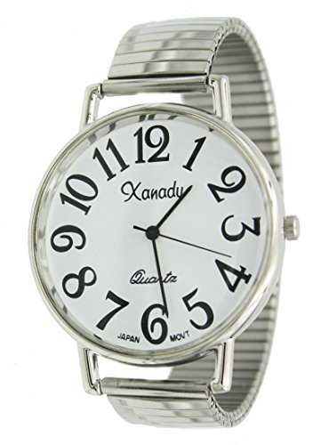 Super Large Face Stretch Band Easy to Read Watch-Silver Tone - Watch Large Face