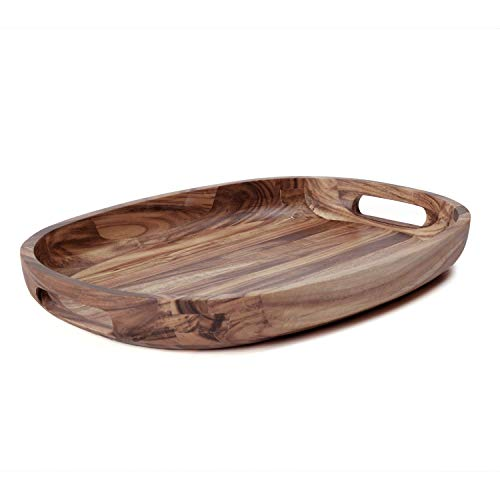 Wooden Serving Tray - Oval Acacia Wood Decorative Tray with Handles for Parties and Breakfast in Bed or on Ottomans - 17 x 11.75 x 2 Inches