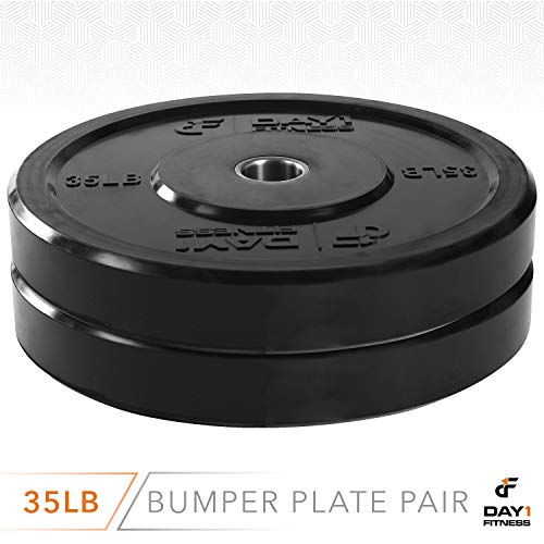 """Day 1 Fitness Olympic Bumper Weighted Plate 2"""" for Barbells, Bars – 35 lb Set of 2 Plates - Shock-Absorbing, Minimal Bounce Steel Weights with Bumpers for Lifting, Strength Training, and Working Out by Day 1 Fitness (Image #2)"""