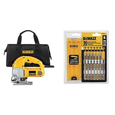 DEWALT DW317K 5.5 Amp Top Handle Jig Saw Kit with DEWALT DW3741C 10-Piece T-Shank Jig Saw Blade Set w/Case