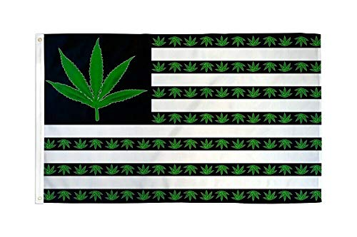 Marijuana Leaf USA Flag Flag Pot Party Banner Hippie Pennant Dorm Room Sign 3x5]()