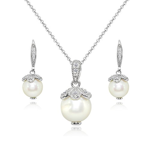 Sterling Silver Simulated Pearl Petals Drop Leverback Earrings & Necklace Set with White Topaz Accents
