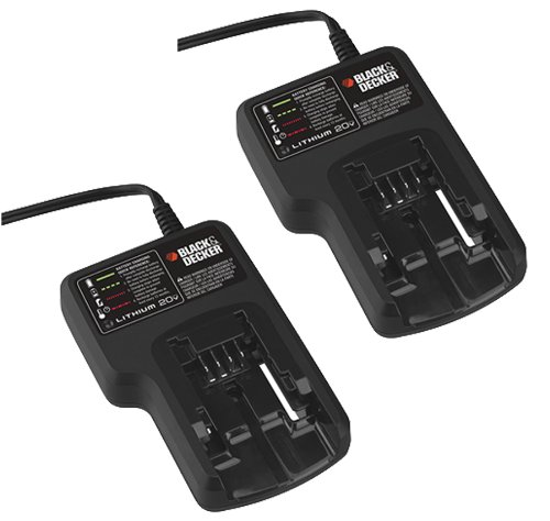 Black and Decker 2 Pack LCS20 20 Volt Li-on Cordless Charger 90553168-2PK by BLACK+DECKER
