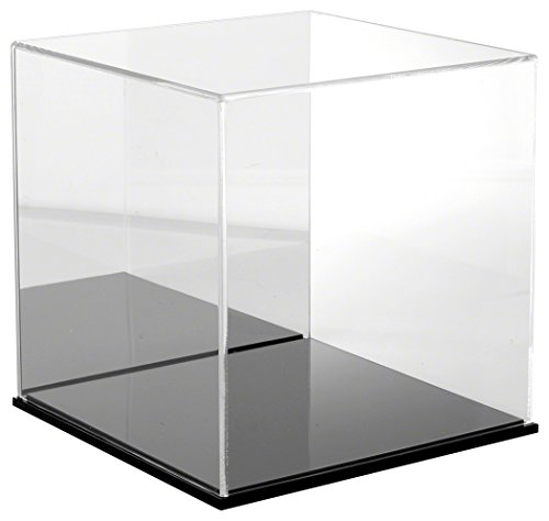 Plymor Brand Clear Acrylic Display Case with Black Base (Mirror Back), 12'' x 12'' x 12'' by Plymor
