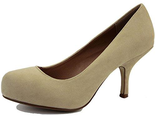 Ladies Womens Work Platform Low Mid Kitten Heels Bridal Court Bridesmaid Shoes Pumps Size 3-8 New Style 4 - Beige BDll9MFd5M