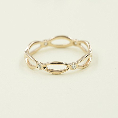 Infinity Twist Ring, Diamond Infinity Ring, Minimalist Ring, Eternity Solid 14k Gold Band, 0.12CT High Quality Diamonds, Infinity Wedding Band