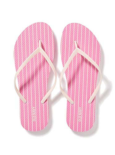 Old Navy Women Beach Summer Casual Flip Flop Sandals (8, Pink Stripe)