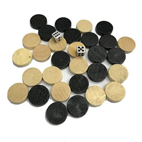 Kinshops Borradores y fichas de ajedrez de Madera Natural y Pieza de ajedrez de Backgammon para niños Juego de Mesa…