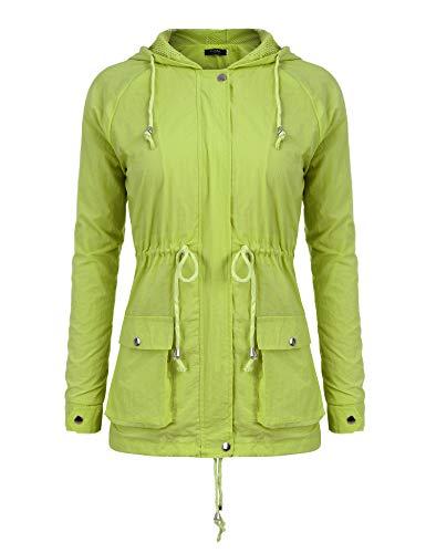 FISOUL Impermable  Capuche Femme Veste de Pluie Trench Capuche Femme Manteau de Pluie Raincoat Waterproof Jaune