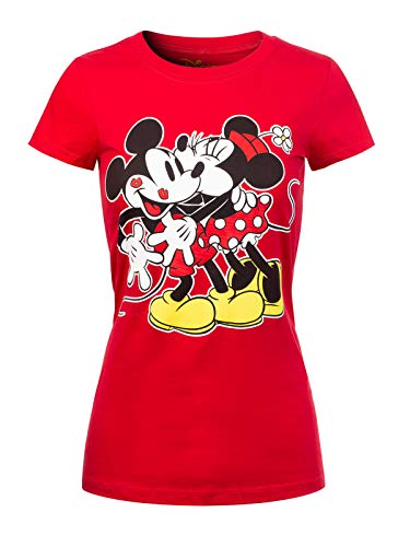 Instar Mode Women's Disney Mickey/Minnie Junior T-Shirt Print Top DS421 Red M