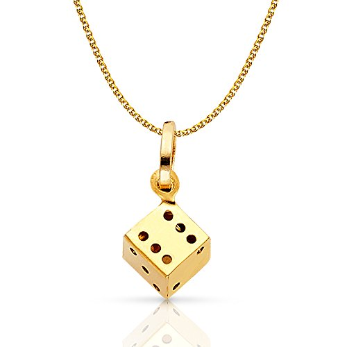 14K Yellow Gold Dice Charm Pendant with 1.2mm Flat Open Wheat Chain Necklace - 16