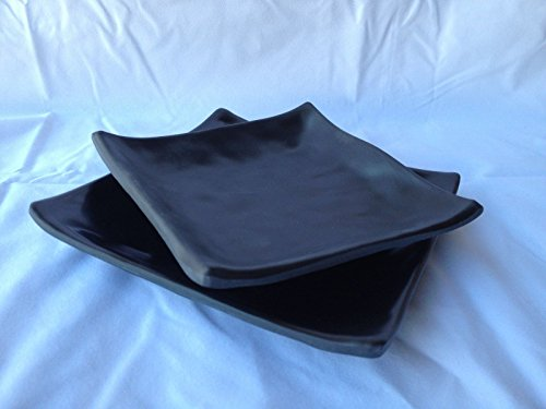 Lucky Star Melamine Square Plates Dinner Appetizer Platter Snack Side Dish, 6 inch or 5 inch, Black (96, 6 inch X 6 inch)