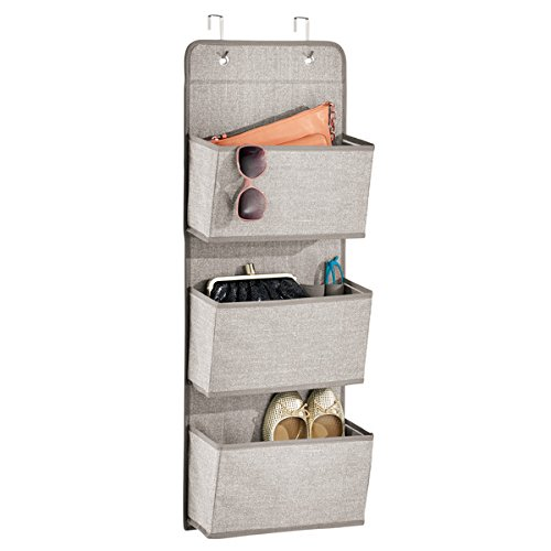 mDesign Soft Fabric Over The Door Hanging Storage Organizer with 3 Large Pockets for Closets in Bedrooms, Hallway, Entryway, Mudroom - Hooks Included - Textured Print - Linen/Tan