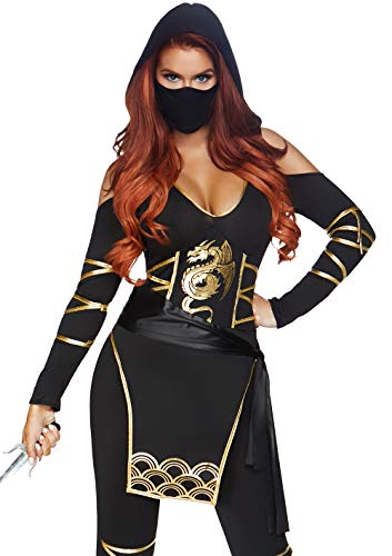 Asian Women Costume (Leg Avenue Women's 3PC.Stealth Ninja, Black/Gold,)