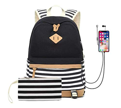 Waterproof Canvas Backpack for College Girls Women USB Charging Port Fits 14