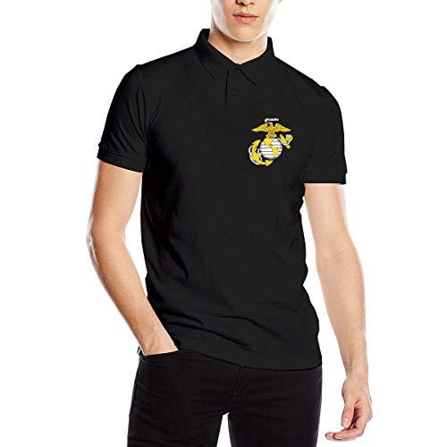 Eagle Globe Anchor USMC Marine Corps Men's Polo Shirt Golf Polo Shirt Collars Polo Shirt Black