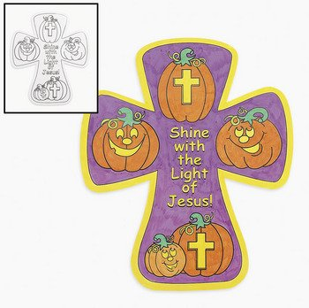 Color Your Own Christian Pumpkin Crosses - Religious Crafts & Crafts for Kids (Christian Halloween Sunday School Crafts)