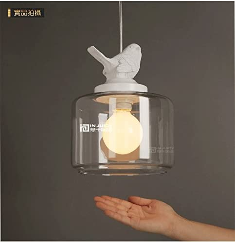 Injuicy Lighting Edison Bird Glass Light Pendant, Clear Antique Brass Droplight Ceiling Light