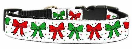 Dog Supplies Christmas Bows Nylon Ribbon Collar Large