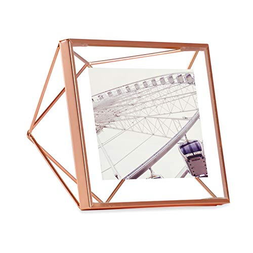 Umbra Prisma Picture Frame, 4x4 Photo Display for Desk or Wall, Copper