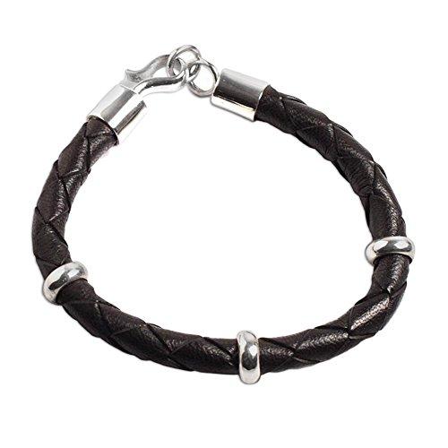 (NOVICA .925 Sterling Silver Braided Leather Men's Wristband Bracelet, 8.75