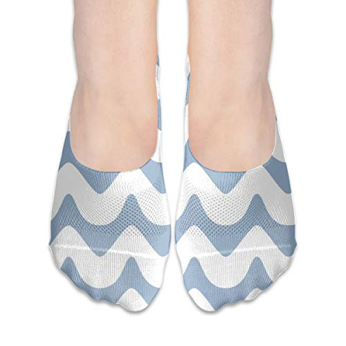 (Chevron Waves Seamless Extra Low Profile for women girl Casual Low Cut Non Slip invisible Boat Liner Socks)