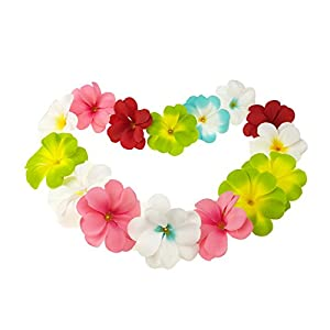 Winterworm Pack of 50 Mixed Artificial Silk Flower Plumeria Frangipani Heads 2.8 inch for Wedding Garland DIY Jewelry Accessories 51