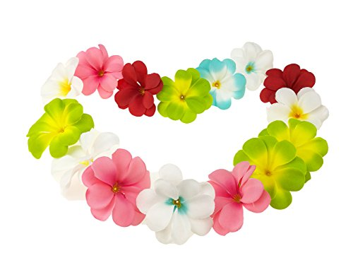 Hawaiian Plumeria Leis - Winterworm Pack of 50 Mixed Artificial Silk Flower Plumeria Frangipani Heads 2.8 inch for Wedding Garland DIY Jewelry Accessories