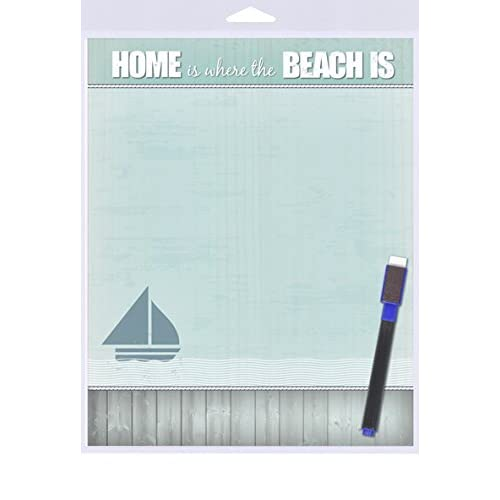 """(SJT40906) Home Is Where The Beach Is (waves and sailboat) Dry Erase Memo Board 8"""" x 10"""""""