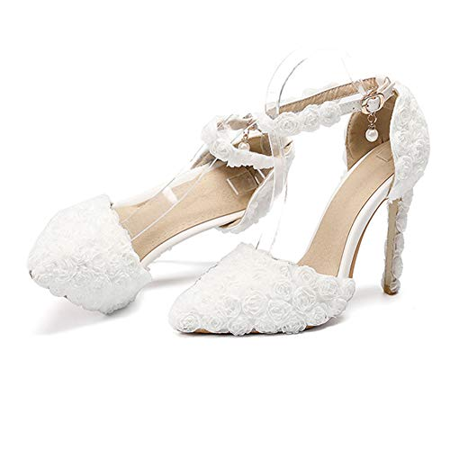 Da Pompe Corte Rosa White Hnm Bianca Alto Sposa A Nozze Tacchi Shoes Cinturino 35 46 Caviglia Tacco Sandali Scarpe Spillo Eleganti Donna Taglia Rosso 7fratHf