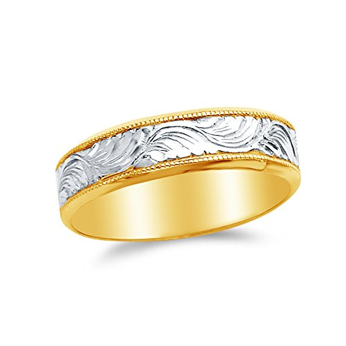 Sonia Jewels Size - 8-14k Two Toned Gold 5mm Men's Wedding Band Ring (Men Two Toned Wedding Band)