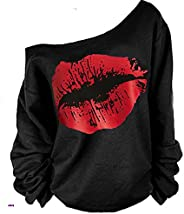 MAGICMK Woman's Sweatershirt Lips Print Causal Blouse Off The Shoulder Long Sleeve Loose Slouchy Pullover Plus