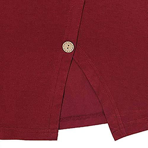 Chemisier Shirt Grande Sexy Rouge Round T Bouton Haut Casual Fleur Manche Taille Chic Femme Col Longue Tops Blouse REIw6R