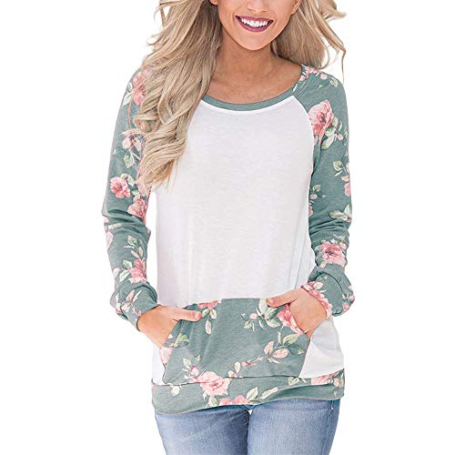 Youngh Womens Sweatshirt Floral Print Loose Long Sleeve Fashion Blouse T Shirt Tops with Pocket