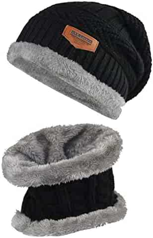 3324a2e213abc Lover Kids Winter Warm Hat and Scarf Knitted Hat with Soft Fleece Lined  Beanie