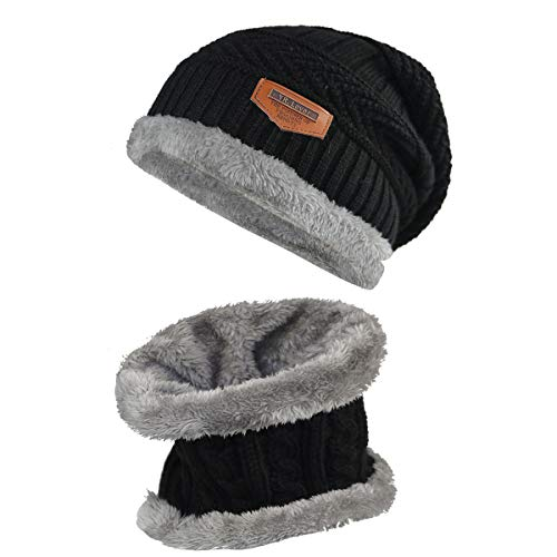 (Kids Winter Warm Hat Scarf Knitted Hat with Soft Fleece Lined Beanie Cap.YR.Lover Black)