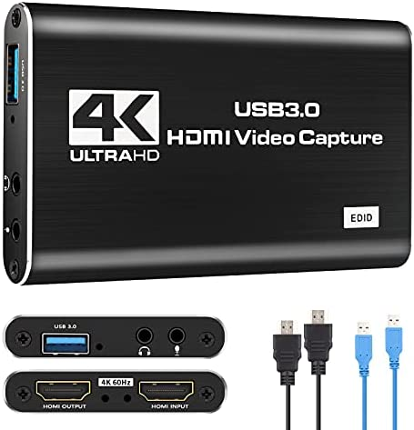 Video Capture Card,IPXOZO 4K Capture Card 1080P 60fps HDMI Audio Video Capture Card USB 3.0 Capture Adapter Black Portable Video Capture Device for Live Broadcasting Gaming Streaming Video Conference